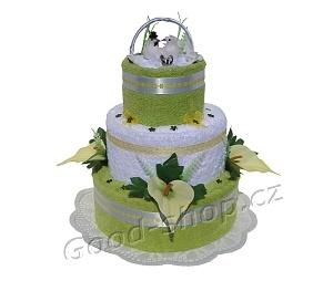 Textilní dort s holubičkami 3patrový (2+2) zelinkavá - bílá