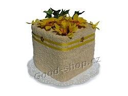 Textilní dort kostka sv.hnědá 1patrový sv.hnědá
