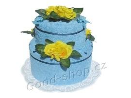 Textilní dort 2P-4 2patrový (2xručník) sv.modrý