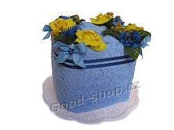 Textilní dort kostka modrá 1patrový modrá