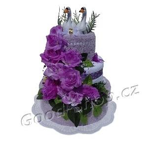 Textilní dort 3P-21 svatební 3patrový (2+2) lila-bílá