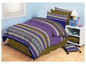 Povlečení bavlna Akira fialové 70x90, 140x200 cm fialová