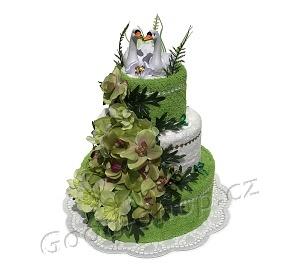 Textilní dort 3P-2 svatební 3patrový (2+2) zelená-bílá