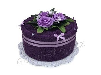 Textilní dort 1P-1 1patrový tm.fialový