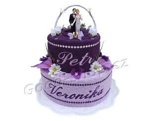 Textilní dort svatební se jmény 2patrový tm.fialová-sv.fialová