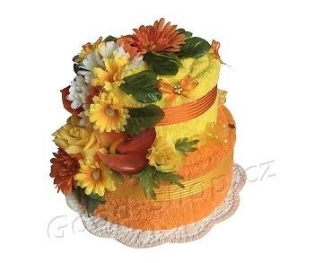 Textilní dort 2P-D 2patrový (1os.+1ruč.) žlutá-oranžová