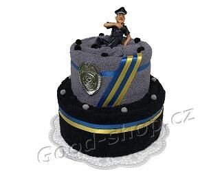 Textilní dort pro policistu 2patrový černá-šedá