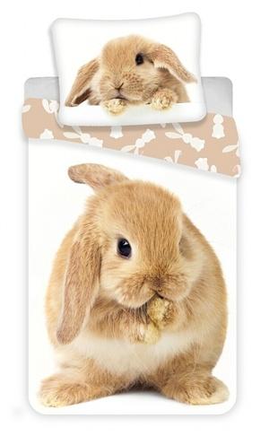 Povlečení Králíček Bunny brown 140x200,70x90 cm bílá-béžová