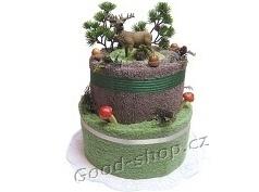 Textilní dort myslivecký s jelenem 2patrový (2ruč.+1os.) zelená-hnědá