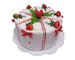 Textilní dort bílý s jahodami 1patrový bílá