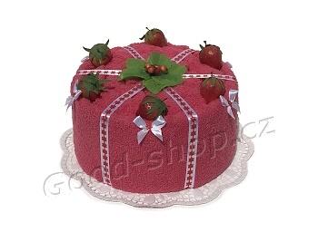 Textilní dort malinový s jahodami 1patrový malinová