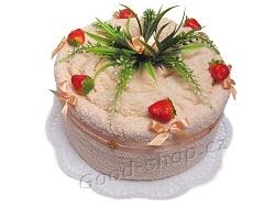 Textilní dort s jahodami 1patrový lososová