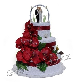 Dort svatební s ženichem a nevěstou 3patrový (2+2) bílý