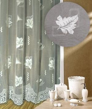 Záclona kusová Padající list výška 240cm, délka 600cm bílá