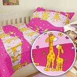 Povlečení krep do postýlky 90x130 + 45x60 cm Žirafa růžová