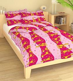 Povlečení bavlna do postýlky 90x130 + 45x60 cm Žirafa růžová
