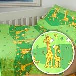 Povlečení krep do postýlky 90x130 + 45x60 cm Žirafa zelená