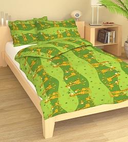 Povlečení bavlna do postýlky 90x130 + 45x60 cm Žirafa zelená