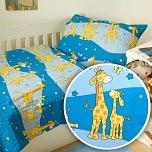 Povlečení krep do postýlky 90x130 + 45x60 cm Žirafa modrá