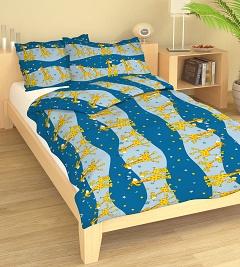 Povlečení bavlna do postýlky 90x130 + 45x60 cm Žirafa modrá