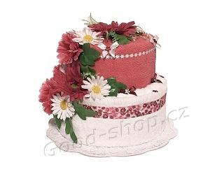 Textilní dort 2P-9 2patrový (1os.+1ruč.) malinovo-bílý