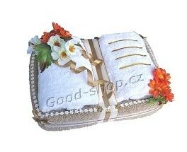 Textilní dort kniha 30x20 cm sv.hnědá - bílá