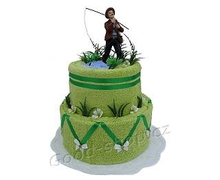 Textilní dort pro rybáře 2patrový (2ruč.+1os.) zelená-modrá