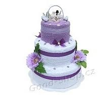 Textilní dort lila s holubičkami 3patrový (2+2) lila - bílá