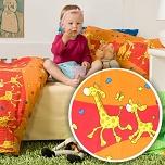 Povlečení krep do postýlky 90x130 + 45x60 cm Žirafa červená