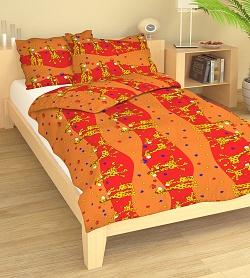 Povlečení bavlna do postýlky 90x130 + 45x60 cm Žirafa červená