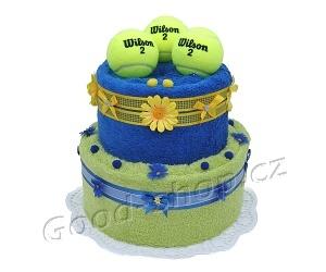 Textilní dort pro tenistu 2patrový (1os.+1ruč.) modrá-žlutozelená
