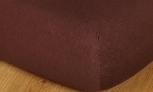 Prostěradlo jersey 90x220 x výška 18cm tmavě hnědá