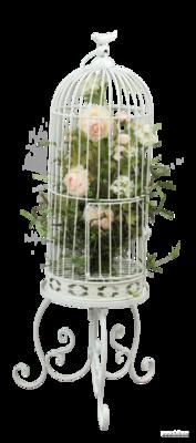 Dekorativní kovová klec s ozdobným ptáčkem na špici výška 125 cm