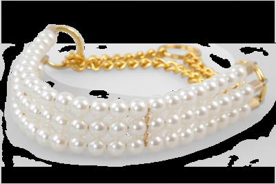 Obojek+vodítko PEARL široký perlový polostahovací