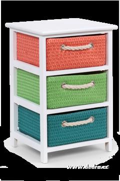 Dřevěný regál/komoda 3 šuplata multicolor