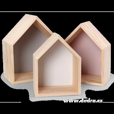 3 ks dřevěné poličky ve tvaru domečku