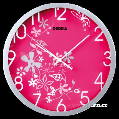 Nástěnné hodiny růžové s ornamenty quartzový strojek na 1 tuž. baterii