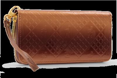 Luxusní dámská peněženka s FC monogramem přírodní tóny