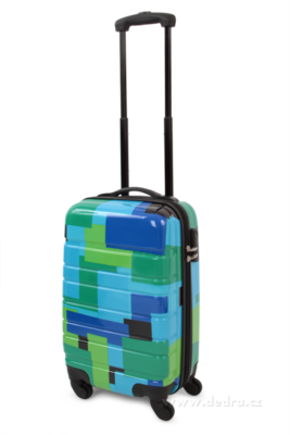 Skořepinový kufr,50 x 33 x 21 cm blue geometric
