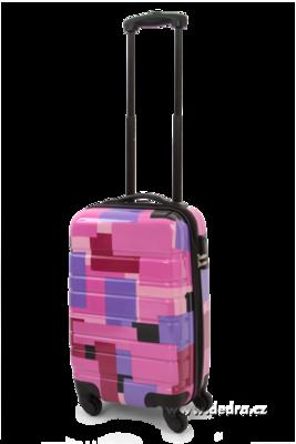 Skořepinový kufr,50 x 33 x 21 cm pink geometric