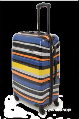 Skořepinový velký kufr,70 x 47 x 28 cm blue stripes