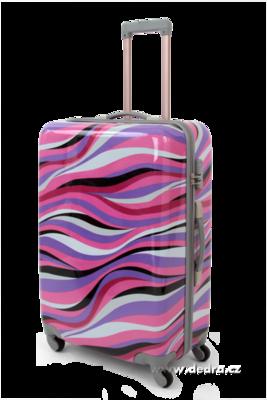 Skořepinový velký kufr,70 x 50 x 30 cm pink waves