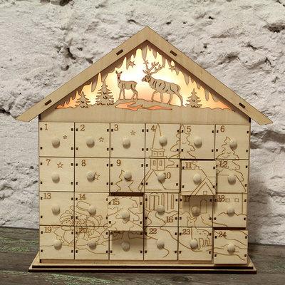 Adventní kalendář svítící dřevěný