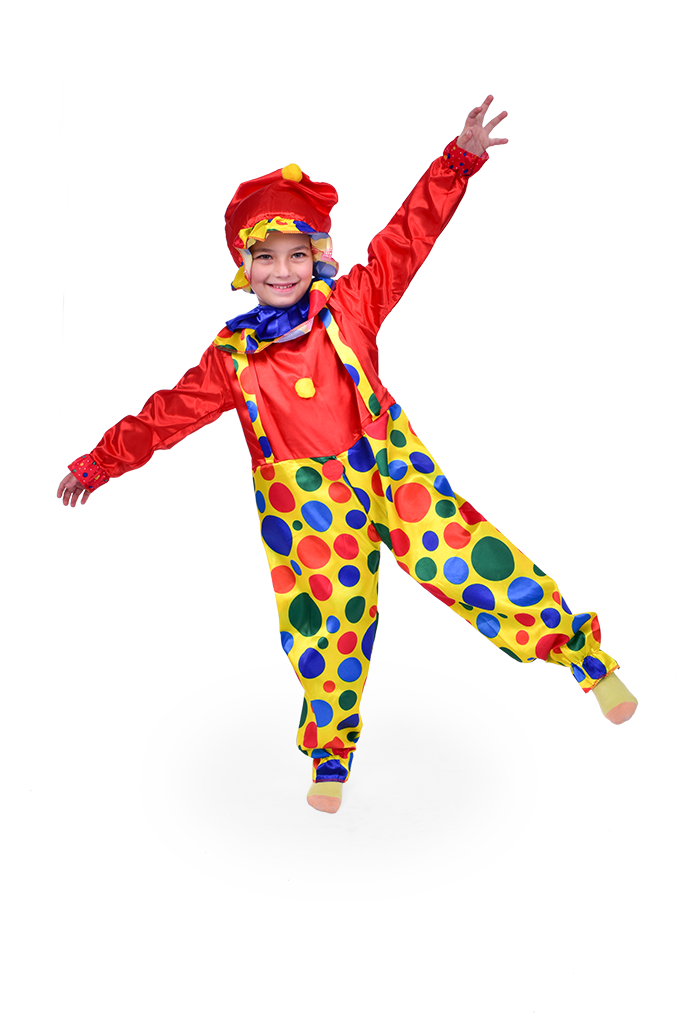 Kostým BAREVNý KLAUN dětský žluto červený s puntíky