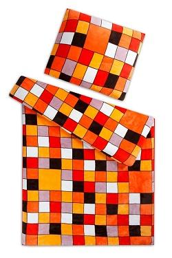 Povlečení mikroflanel- mikroplyš 140x200,70x90 cm Kostka oranžová