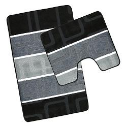 Koupelnová sada předložek 60x100, 60x50 cm černošedé obdélníky