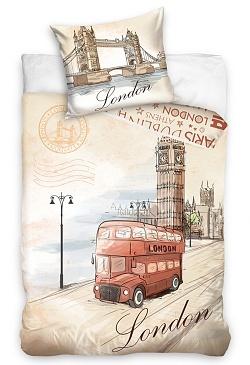 Povlečení London bus 70x90, 140x200 cm
