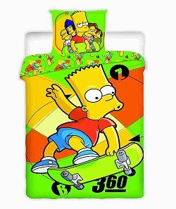 Povlečení Simpsonovi - Bárt Skate 140x200,70x90 cm