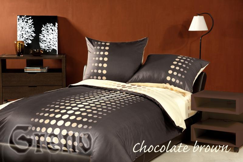 Povlečení satén XQ Choco Brown 70x90, 140x200 cm hnědá-béžová