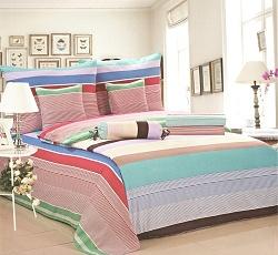 Povlečení krepové na 2 postele 4 dílné pruh barevný